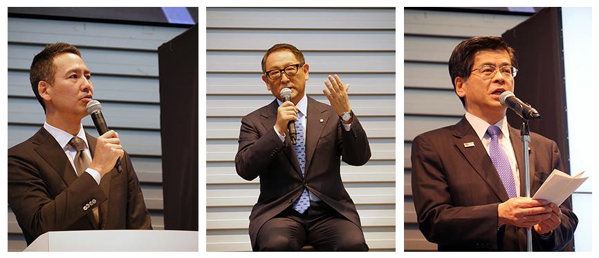 (写真左から)川鍋一朗会長、豊田章男社長、石井啓一国土交通大臣